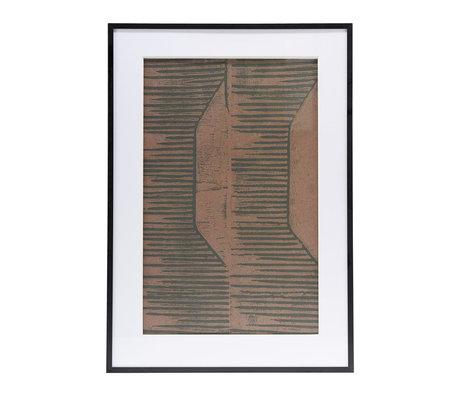Housedoctor Poster met lijst Field 05 rood bruin glas metaal 59,5x42cm