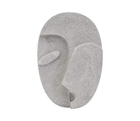 Housedoctor Ornament Wall Face grauer Zement 21,8 x 32 cm