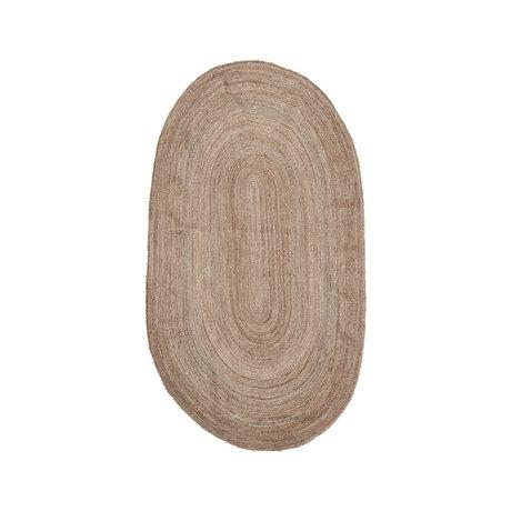 Housedoctor Vloerkleed Charco naturel bruin jute 150x90cm