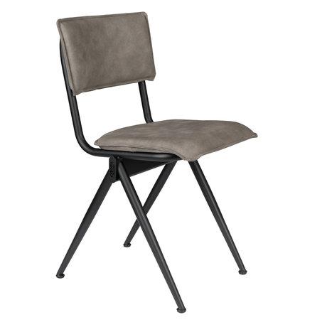 Dutchbone Chaise de salle à manger neuve en simili gris PU 39.5x54.5x82.5cm