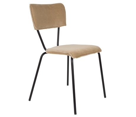 DUTCHBONE Dining room chair Melonie sand brown textile 51x54x81.5cm