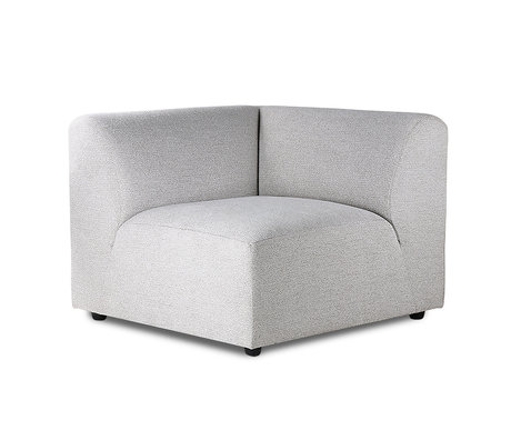 HK-living Sofa element Jax left light gray textile 94x94x76cm