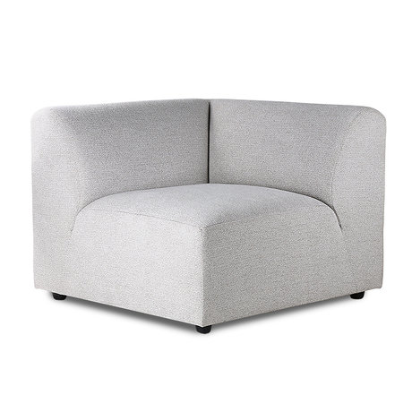 HK-living Sofa Element Jax links hellgraues Textil 94x94x76cm