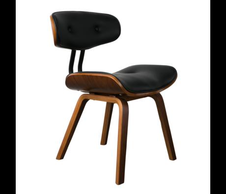 Dutchbone Chaise de salle à manger Blackwood noyer brun cuir PU bois 51x55.5x78cm