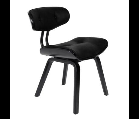Dutchbone Chaise de salle à manger Blackwood noir en cuir PU bois 51x55.5x78cm