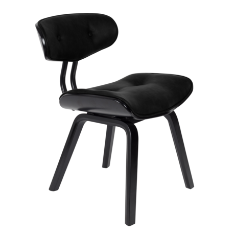 Dutchbone Dining room chair Blackwood black pu leather wood 51x55.5x78cm