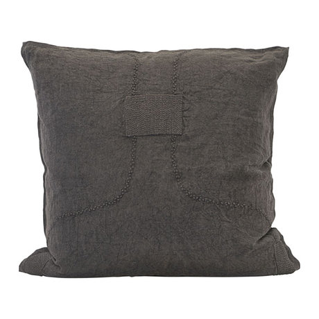 Housedoctor Cushion cover Patch brown linen 60x60cm