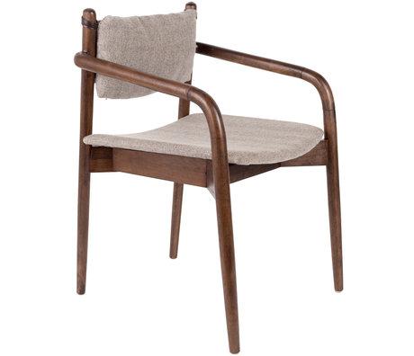 DUTCHBONE Esszimmerstuhl Torrance mit Armlehnen aus grauem Textilholz 55x59x78.5cm