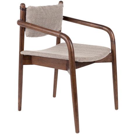 DUTCHBONE Eetkamerstoel Torrance met armleuningen grijs textiel hout  55x59x78,5cm