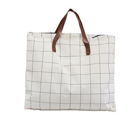 Housedoctor Bag Squares weiß braun Textil 58x32x48cm