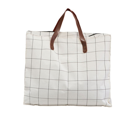 Housedoctor Bag Squares white brown textile 58x32x48cm