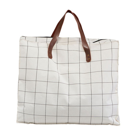 Housedoctor Sac Squares blanc marron textile 58x32x48cm