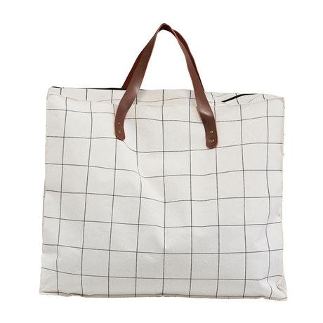 Housedoctor Tas Squares wit bruin textiel 58x32x48cm