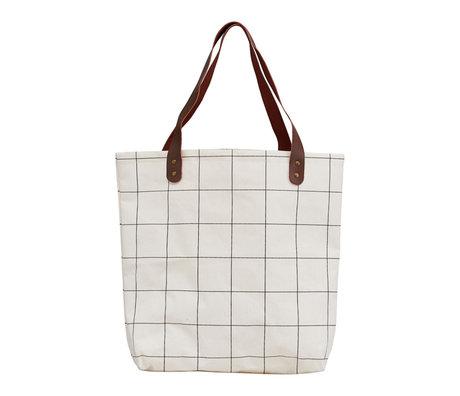 Housedoctor Shopper Squares blanc marron textile 45x10x40cm