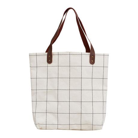 Housedoctor Shopper Squares weiß braun Textil 45x10x40cm