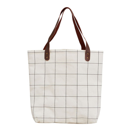 Housedoctor Shopper Squares white brown textile 45x10x40cm