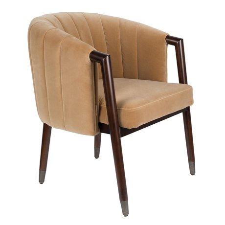 DUTCHBONE Fauteuil Tammy Caramel bruin textiel 63,5x64x78cm