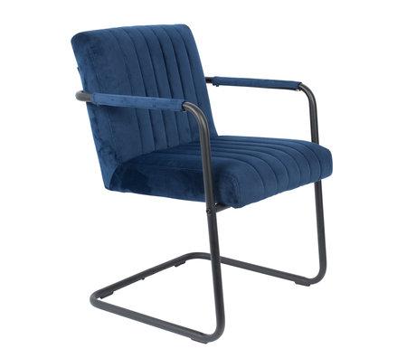 DUTCHBONE Dining room chair Stitched navy blue velvet 58x66x83cm