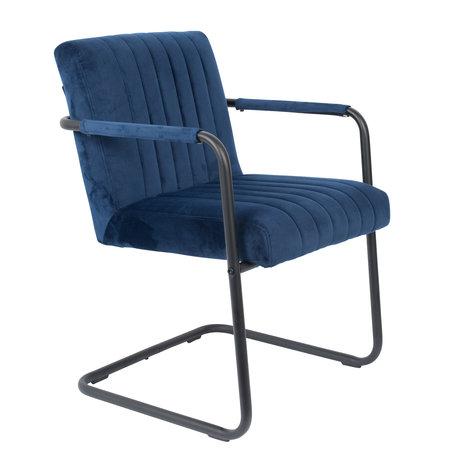 DUTCHBONE Chaise de salle a manger Velvet bleu marine 58x66x83cm