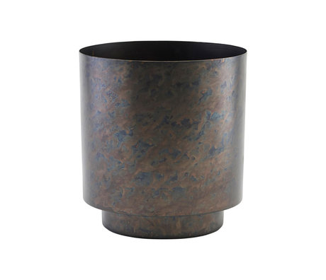 Housedoctor Bloempot Como mat zwart goud ijzer L Ø20x25cm