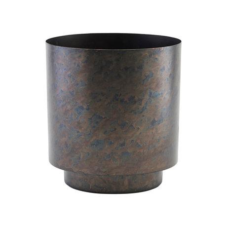 Housedoctor Flowerpot Como matt black gold iron L Ø20x25cm