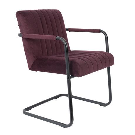DUTCHBONE Chaise de salle à manger cousue velours violet prune 58x66x83cm