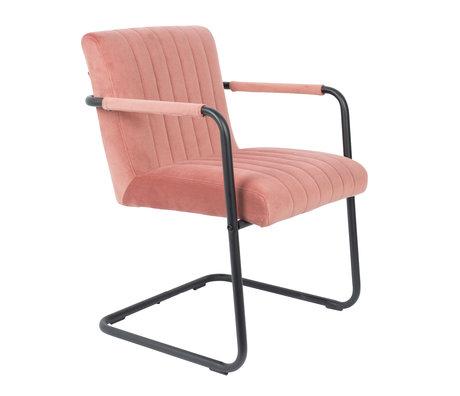 DUTCHBONE Chaise de salle à manger Velvet rose cousu 58x66x83cm