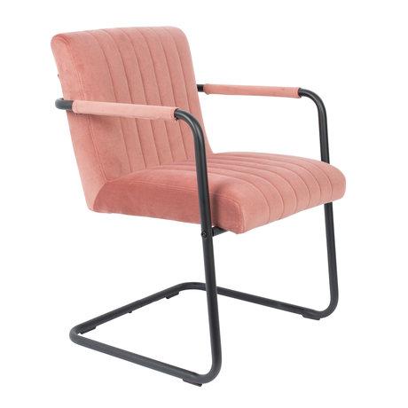 DUTCHBONE Eetkamerstoel Stitched roze velvet 58x66x83cm