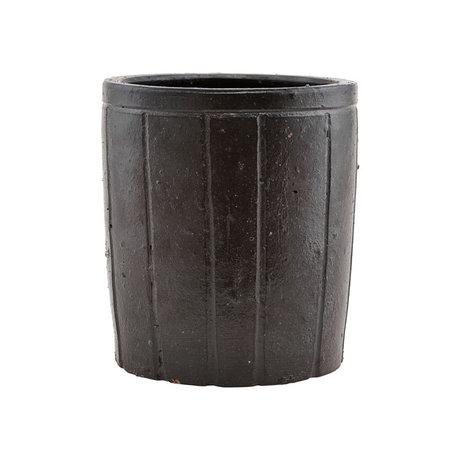 Housedoctor Pot à fleurs Julian en faïence marron L Ø18x20cm