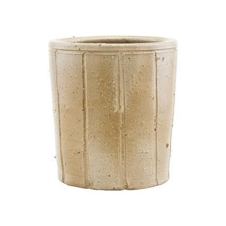 Housedoctor Bloempot Julian beige aardewerk L Ø18x20cm