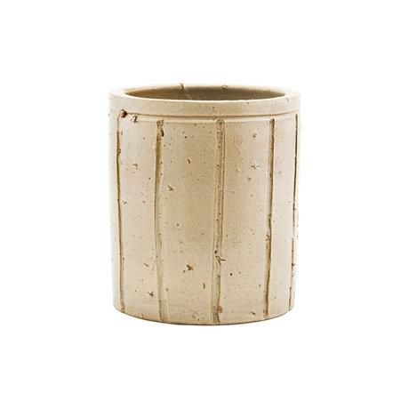 Housedoctor Pot à fleurs Julian en faïence beige M Ø15x17cm
