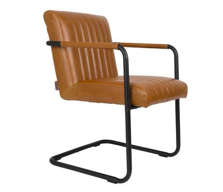 DUTCHBONE Chaise de salle à manger Piqué en cuir marron cognac 58x66x83cm