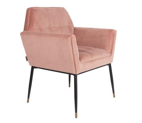 DUTCHBONE Eetkamerstoel Kate pink clay roze velvet 71,5x63,5x86cm