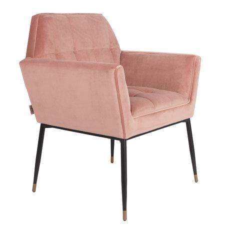 Dutchbone Chaise de salle à manger Kate rose argile rose velours 71.5x63.5x86cm
