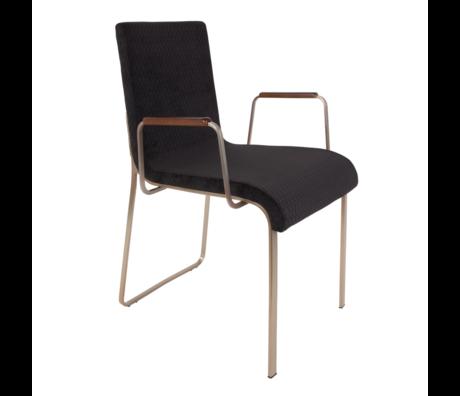 DUTCHBONE Chaise de salle à manger Flor avec accoudoirs textile noir 54,5x55x81cm