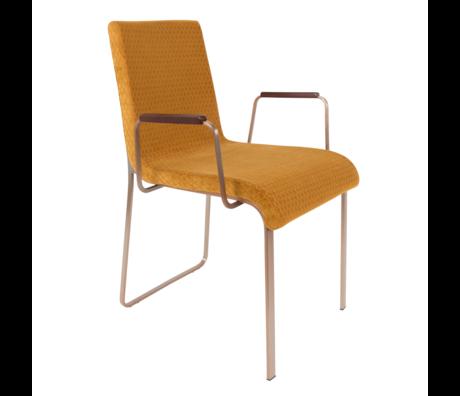 DUTCHBONE Chaise de salle à manger Flor avec accoudoirs ocre jaune textile 54.5x55x81cm