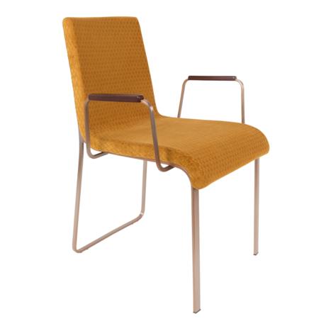 DUTCHBONE Dining room chair Flor with armrests ocher yellow textile 54.5x55x81cm