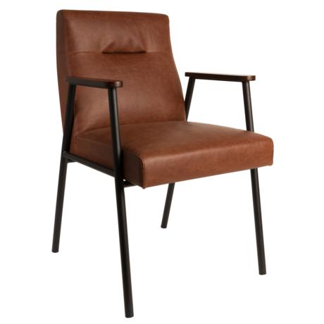 DUTCHBONE Dining room chair Fez vintage brown pu leather 57,5x60x86cm