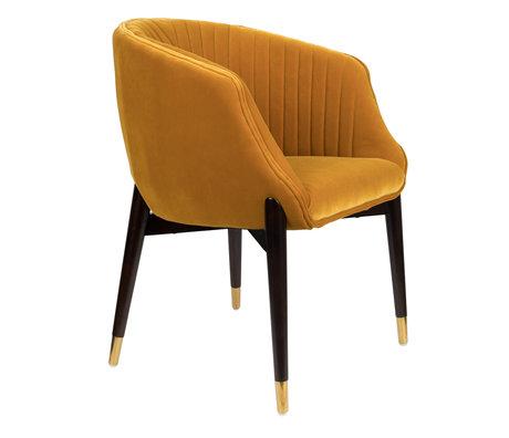 Dutchbone Chaise de salle à manger Dolly ocre jaune textile 61x63x82cm