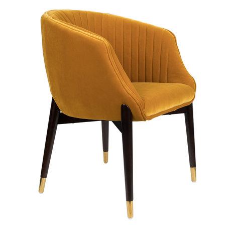 DUTCHBONE Eetkamerstoel Dolly oker geel textiel 61x63x82cm