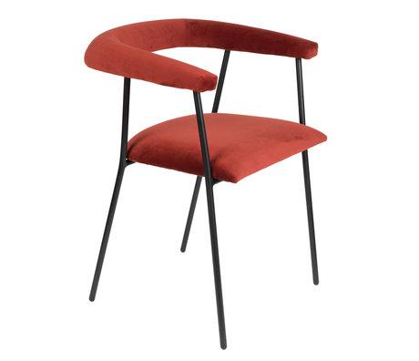 Dutchbone Chaise de salle à manger Haily vin rouge velours 58x55x75cm