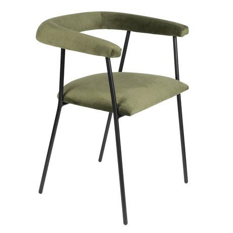 DUTCHBONE Chaise de salle à manger Haily velours vert foncé 58x55x75cm