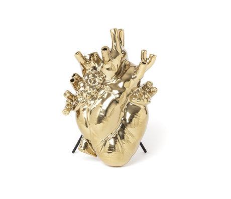 Seletti Vase love in bloom gold porcelain 16.5x9x25 cm