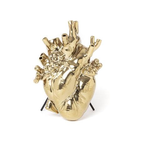 Seletti Vase love en fleurs de porcelaine dorée 16.5x9x25 cm