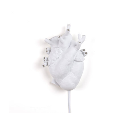 Seletti Wandleuchte Herz aus weißem Porzellan 22x11x32cm