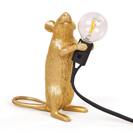 Seletti Tischleuchte Maus gold Kunststoff 6x13,3x14,5 cm