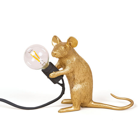 Seletti Tafellamp Mouse goud kunststof 5x15x12,5cm
