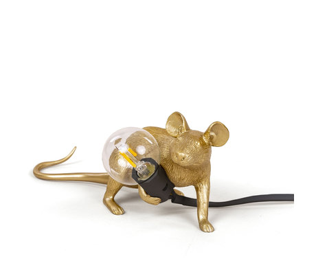 Seletti Tischleuchte Maus gold Kunststoff 6,2x21x8,1cm