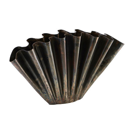 Housedoctor Vase Flood en fonte marron antique 53.5x11x30cm