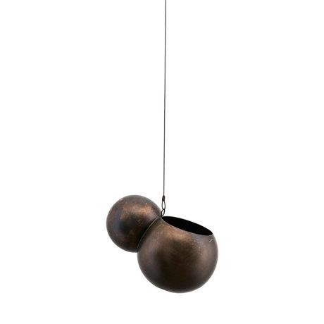Housedoctor Hanging pot Molec antique brown iron Ø14.5x18cm
